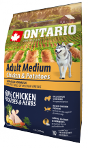 Корм для собак - ONTARIO Adult Medium Chicken & Potatoes, 2.25 кг