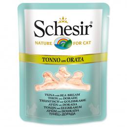Консервы для кошек - SCHESIR Cat Pouch in Broth Tuna and Sea Bream, 70 г