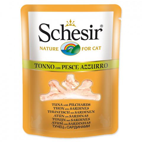 Konservi kaķiem - SCHESIR Cat Pouch in Broth Tuna and Pilchards, 70 g title=