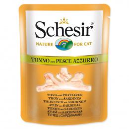 Konservi kaķiem - SCHESIR Cat Pouch in Broth Tuna and Pilchards, 70 g