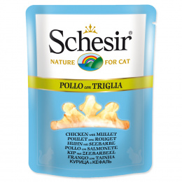 Konservi kaķiem - SCHESIR Cat Pouch, vistu un jūras asari, 70g