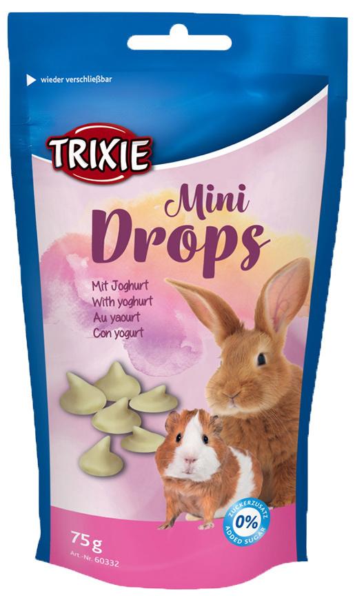 Лакомство для грызунов - TRIXIE Mini Drops, с йогуртом, 75 гр