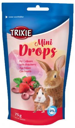 Лакомство для грызунов - TRIXIE Mini Drops, с клубникой, 75 гр