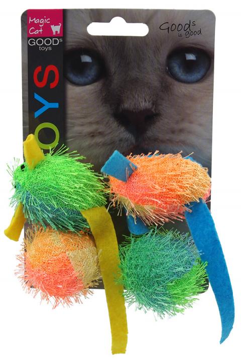 Игрушка для кошек - Magic Cat Toy mouse and ball with catnip, 4 шт., 5 см title=