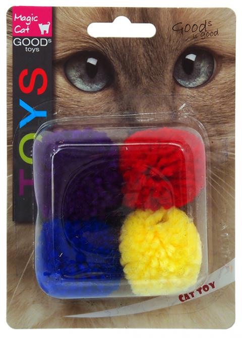 Игрушка для кошек – Magic Cat Toy cotton ball with catnip, 4 шт., 3,75 см title=