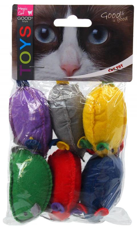 Игрушка для кошек - Magic Cat Toy mouse with catnip, 6шт, 15см