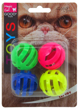 Игрушка для кошек - Magic Cat Toy perforated plastic ball with sound, 4шт, 3.75см