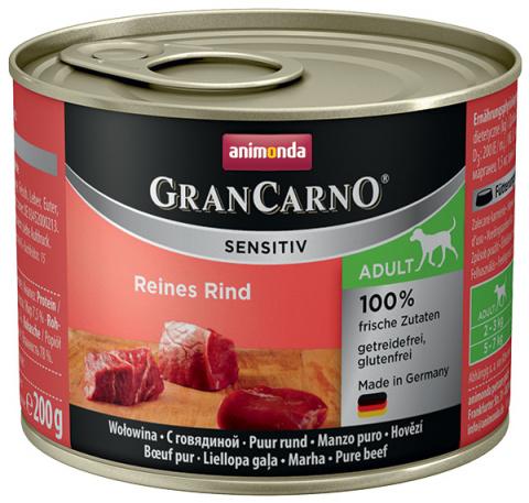 Консервы для собак - Animonda GranCarno Sensitiv, Pure Beef, 200 г title=