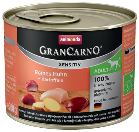 Konservi suņiem - Animonda GranCarno Sensitiv, Chicken & Potatoes, 200 g