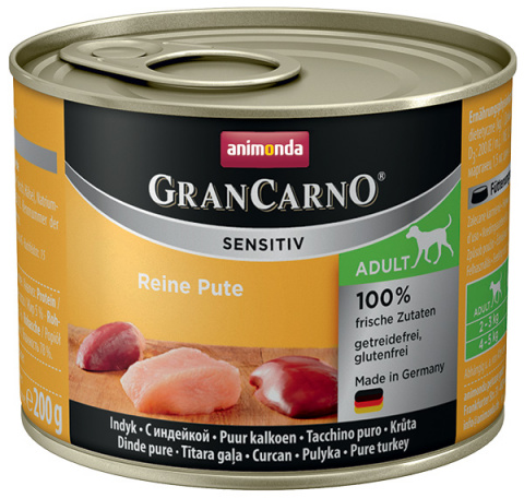 Konservi suņiem - Animonda GranCarno Sensitiv, Pure Turkey, 200 g