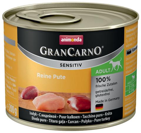 Консервы для собак - Animonda GranCarno Sensitiv, Pure Turkey, 200 г