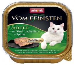 Konservi kaķiem - Vom Feinsten Adult, ar liellopa gaļu, laša fileju un spinātiem, 100 g