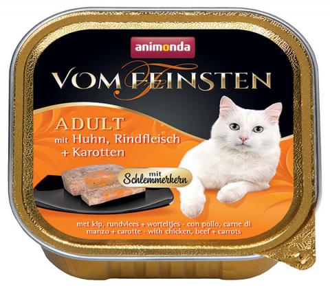 Консервы для кошек - Vom Feinsten Adult с курицей, говядиной + морковью, 100 г