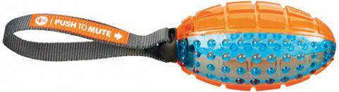 Rotaļlieta suņiem - Push to mute, rugby ball on rope, 12 cm/27 cm, orange/blue