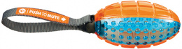 Rotaļlieta suņiem - Push to mute, rugby ball on rope, 12 cm/27 cm, orange/blue