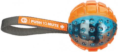 Игрушка для собак - Push to mute, ball on rope, 7 * 22 cm, orange/blue title=