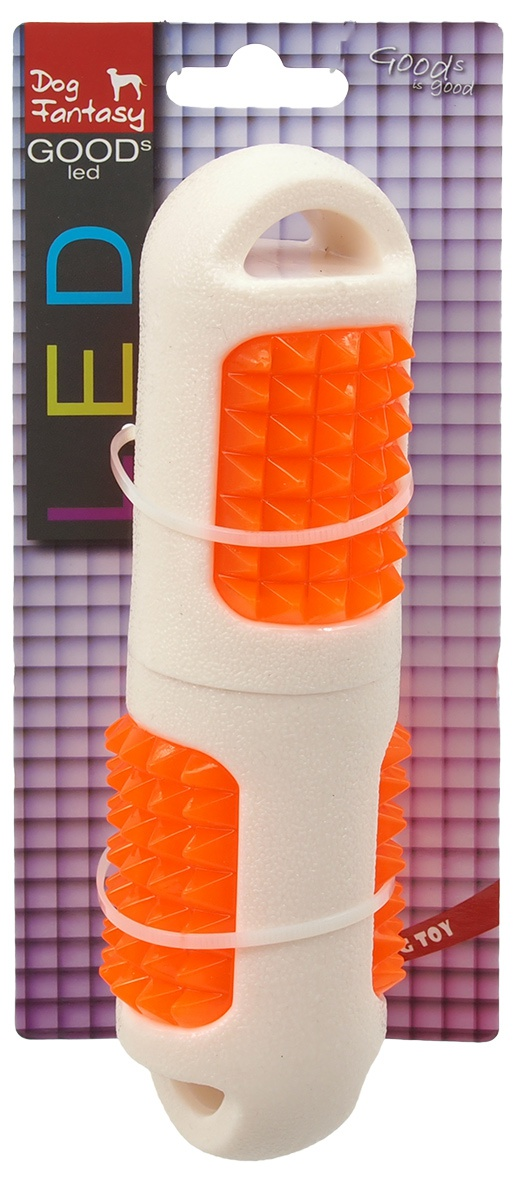 Rotaļlieta suņiem - DogFantasy TPR LED Aport, balta, 19cm