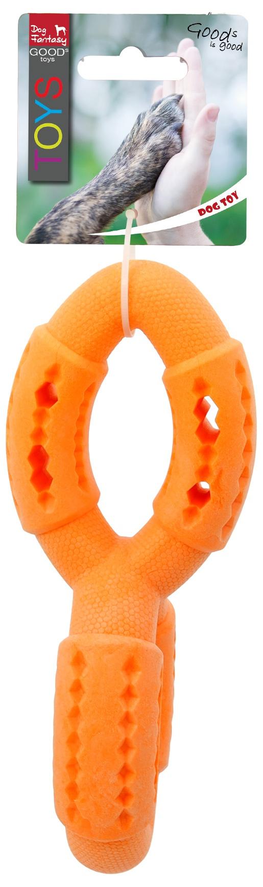 Игрушка для собак - Dog Fantasy Good's Rubber Strong TPR double ring, 19 cm, цвет - оранжевый
