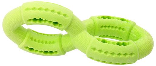 Rotaļlieta suņiem - Dog Fantasy Good's Rubber Strong TPR double ring, 19 cm, krāsa - zaļa