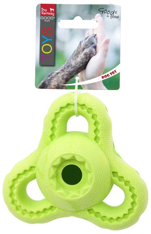 Rotaļlieta suņiem - Dog Fantasy Good's Rubber Strong TPR triangle, 13cm, krāsa - zaļa