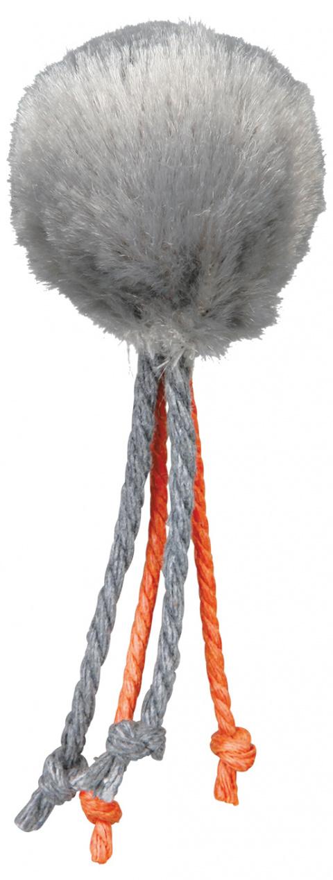 Rotaļlieta kaķiem - TRIXIE Plush Ball with Bell & Strings, 4cm