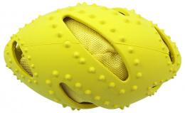 Rotaļlieta suņiem -  Dog Fantasy Good's Rubber TPR Rugby Ball, yellow, 16 cm