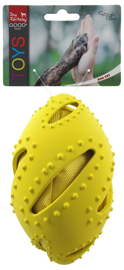 Игрушка для собак - Dog Fantasy Good's TPR Rugby Ball, yellow