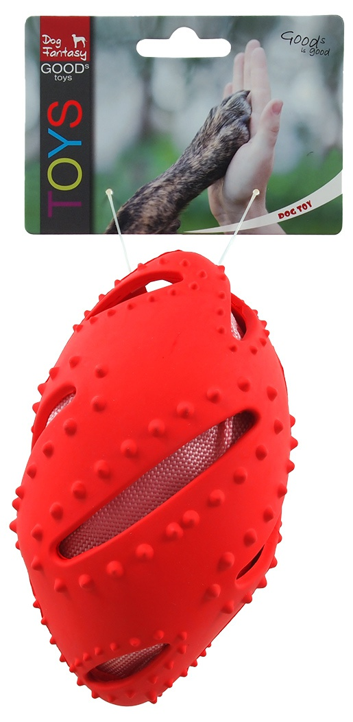 Rotaļlieta suņiem - Dog Fantasy Good's Rubber Rugby Ball, red