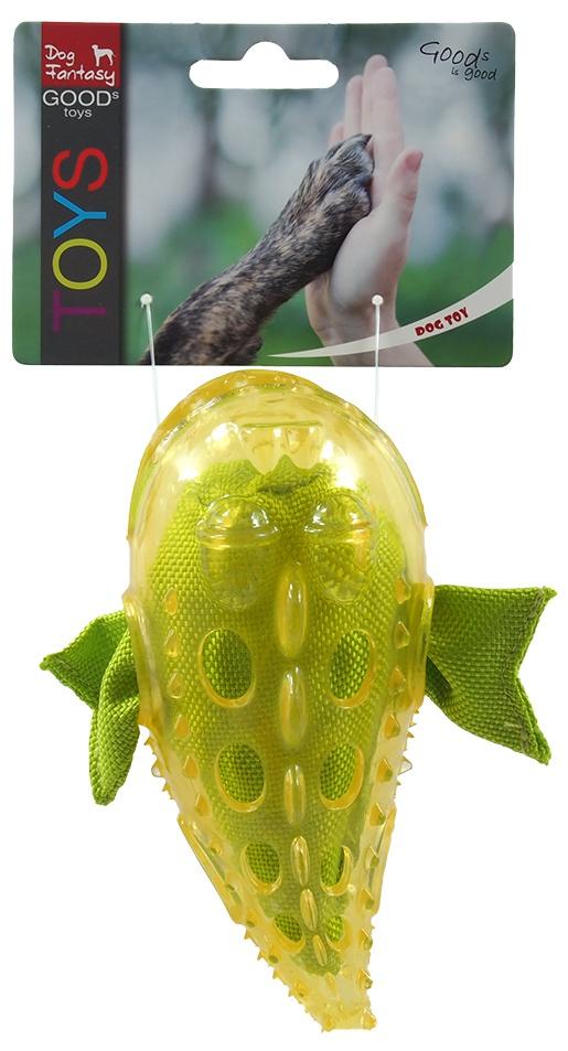 Rotaļlieta suņiem -  Dog Fantasy Good's Rubber TPR Fish, yellow, 16 cm