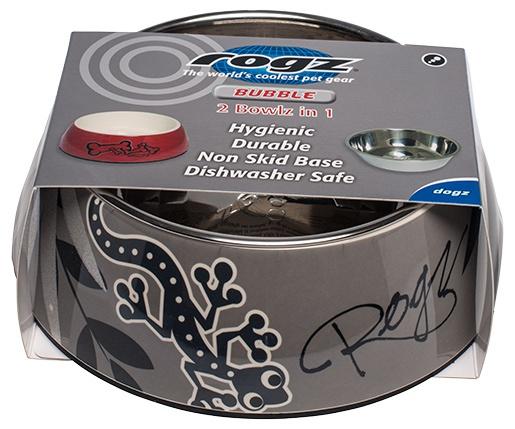 Bļoda suņiem metāla -  ROGZ Bubble pelēka Gecko M, 350 ml. Stilīga metāla bļoda jūsu mīlulim. Izgatavota no augstas kvalitātes nerūsējošā tērauda. Ide
