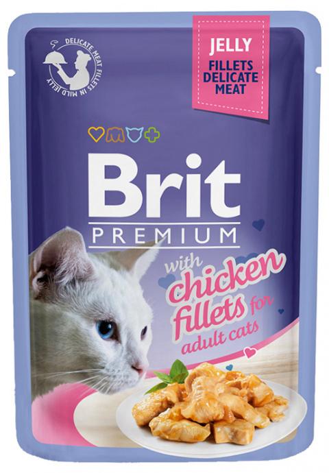 Консервы для кошек - Brit premium Cat Delicate Fillets, с мясом курицы, 85 gr