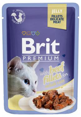 Konservi kaķiem - Brit Premium Cat Delicate Fillets Beef (in Jelly), 85 g