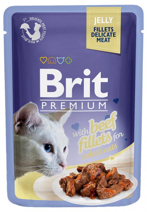 Консервы для кошек - Brit premium Cat Delicate Fillets, с говядиной, 85 gr