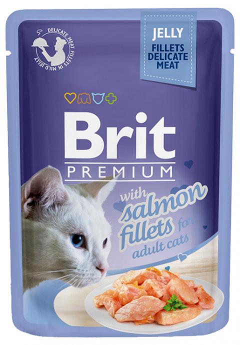 Konservi kaķiem - Brit Premium Cat Delicate Fillets Salmon (in Jelly), 85 g