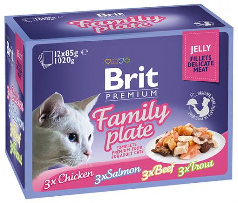Konservi kaķiem – Brit Premium Cat Delicate Fillets in Jelly Family Plate (12 x 85 g) title=