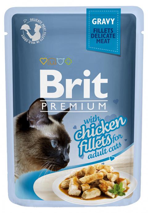 Konservi kaķiem - Brit Premium Cat Delicate Fillets Chicken (in Gravy), 85 g