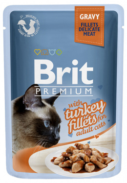 Konservi kaķiem - Brit Premium Cat Delicate Fillets Turkey (in Gravy), 85 g