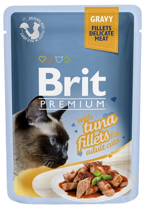 Консервы для кошек - Brit premium Cat Delicate Fillets, с тунцом, 85 gr