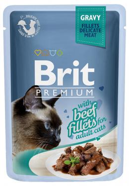 Konservi kaķiem - Brit Premium Cat Delicate Fillets Beef (in Gravy), 85 g