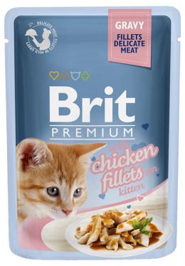 Konservi kaķēniem - Brit Premium Cat Delicate Kitten Fillets Chicken (in Gravy), 85 g