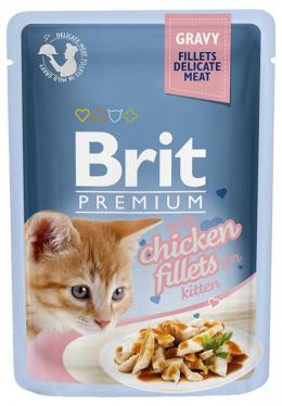 Консервы для котят -  Brit Premium Cat Delicate Kitten, с кусочками куриного филе, 85 gr