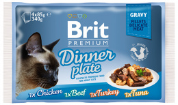 Konservi kaķiem – BRIT Premium Cat Delicate Fillets in Gravy Dinner Plate (4 x 85 g)