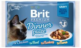 Консервы для кошек – BRIT Premium Cat Delicate Fillets in Gravy Dinner Plate (4 x 85 г)
