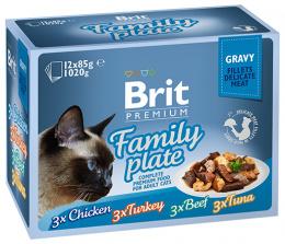 Konservi kaķiem – Brit Premium Cat Delicate Fillets in Gravy Family Plate (12 x 85 g)