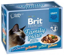 Консервы для кошек – Brit Premium Cat Delicate Fillets in Gravy Family Plate (12 x 85 г)