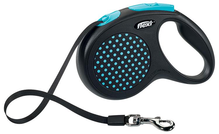 Поводок-рулетка - Flexi Design Dots Tape M, 5 м, blue