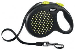 Inerces pavada suņiem - Flexi Design Dots Tape L 5m, yellow