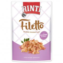 Konservi suņiem - Rinti Filetto in Jelly, vistas fileja ar šķiņķi, 100 g