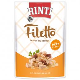 Konservi suņiem - Rinti Filetto in Jelly, vistas fileja un sirdis, 100 g