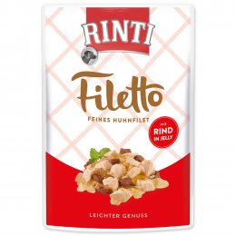 Консервы для собак -  Rinti Filetto in Jelly, куриное филе с говядиной, 100 г